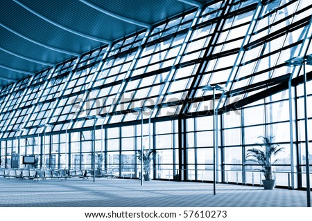 interior of the modern  architectural  in shanghai pudong airport. - stock photo