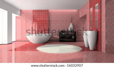 Interior of the modern bathroom - stock photo