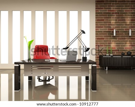 Interior of the modern cabinet 3D rendering - stock photo