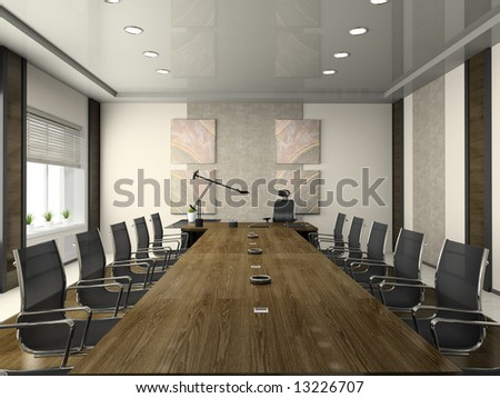 Interior of the modern conference hall 3D rendering - stock photo