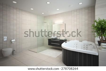Interior modern design bedroom jacuzzi d stock illustration