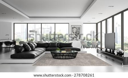 Interior of the modern design  loft with black sofa  3D rendering  - stock photo