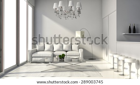 Interior of the modern design loft with lamp, sofa and bar. 3D illustration - stock photo