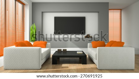 Interior of the modern design room with orange jalousie 3D rendering