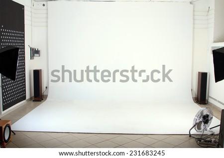 Interior of the modern photo studio - stock photo