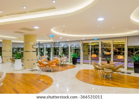 Interior of the modern restaraunt - stock photo