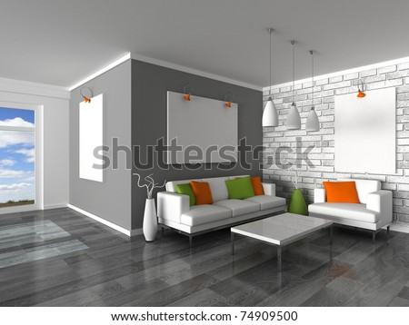 interior of the modern room - stock photo
