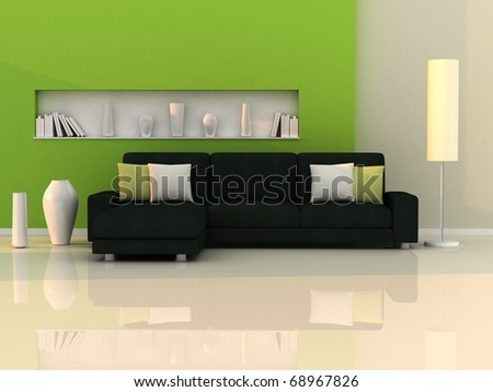 Interior of the modern room, green wall and black sofa - stock photo
