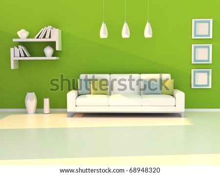 Interior of the modern room, green wall and white sofa - stock photo