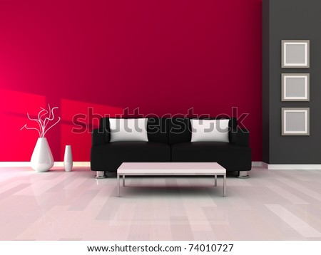 Interior of the modern room, grey and pink wall and black sofa - stock photo