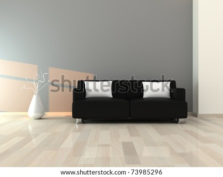 Interior of the modern room, grey wall and black sofa - stock photo