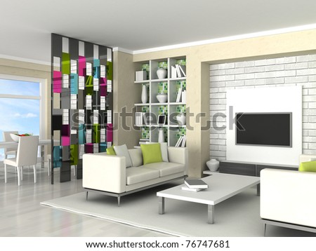 Interior of the modern room, living room - stock photo