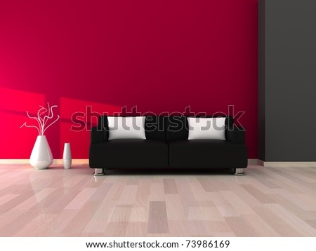 Interior of the modern room, pink and grey wall and black sofa - stock photo