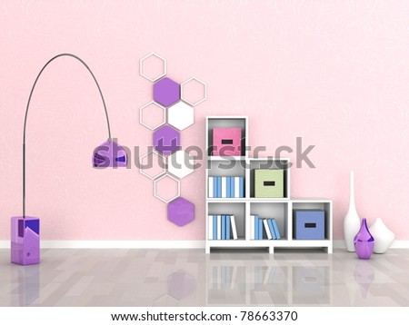 interior of the modern room, pink wall - stock photo