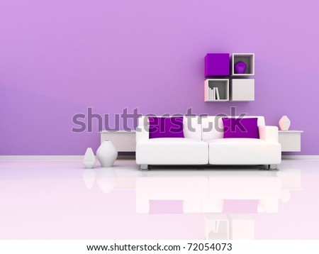 Interior of the modern room, purple wall and white sofa - stock photo