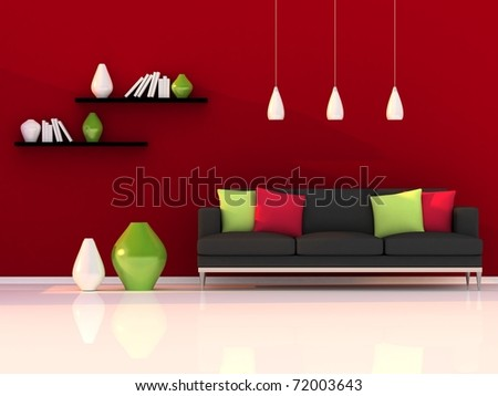 Interior of the modern room, red wall and black sofa - stock photo