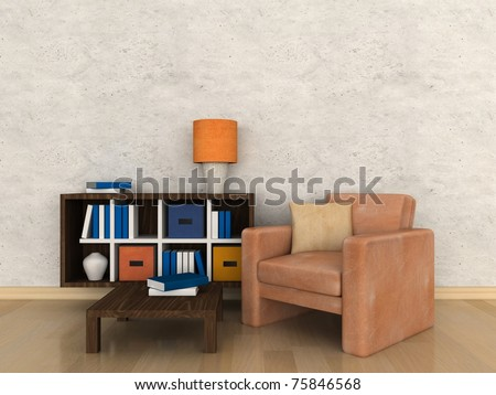 Interior of the modern room, study room - stock photo