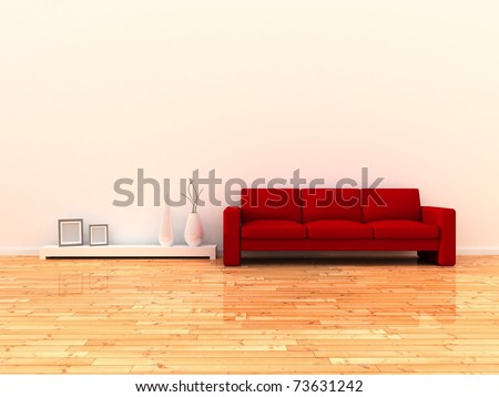 Interior of the modern room, white wall and red sofa - stock photo