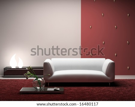 Interior of the modern room with red wall 3D. Photo in magazine was made by me, I uploaded model's release - stock photo