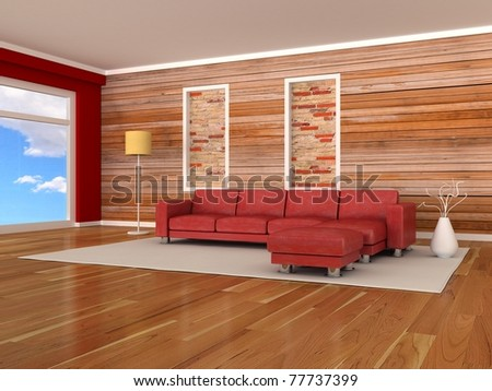 Interior of the modern room, wood wall, red sofa - stock photo
