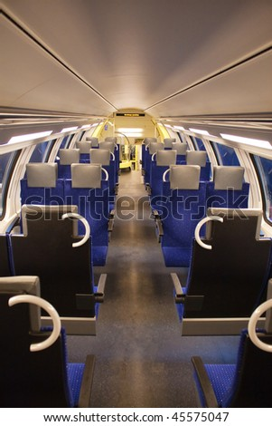 Interior of the modern train - stock photo