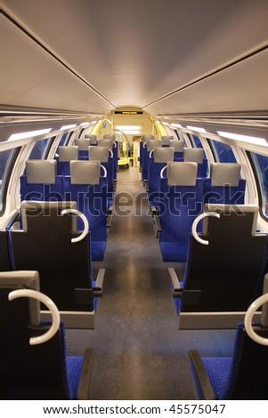 Interior of the modern train - stock photo