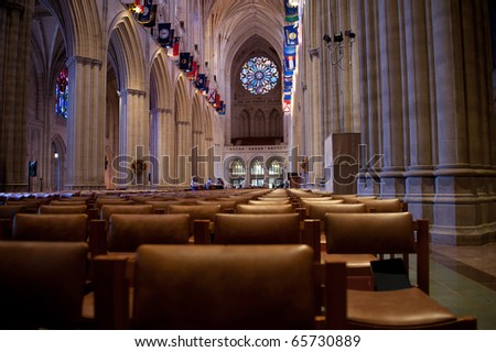 Interior of the National Cathedral - stock photo