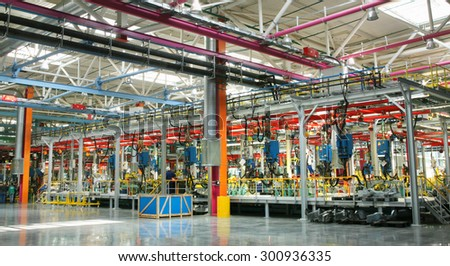 interior of the new welding shop car factory assembly line - stock photo