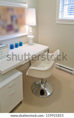 Interior of the nicely modern designed home office ( room, den ) for the student , child