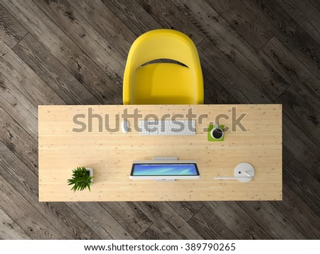 Interior of the office top view 3D rendering  - stock photo