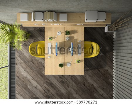 Interior of the office with two table top view 3D rendering   - stock photo