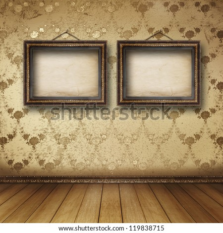 Interior of the old room with the former remains of luxury - stock photo