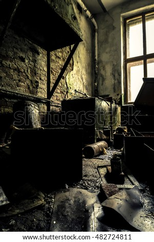 Interior of the old, ruined factory