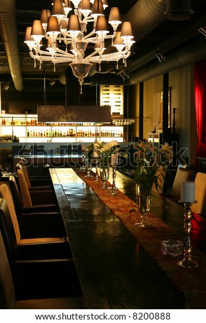 Interior of the Restaurant in Dark Red Tone - stock photo