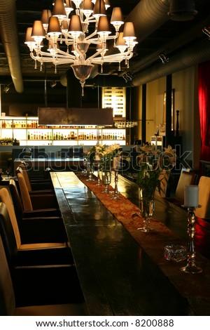 Interior of the Restaurant in Dark Red Tone - stock photo