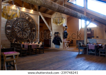 interior of the restaurant in ethnographic style - stock photo