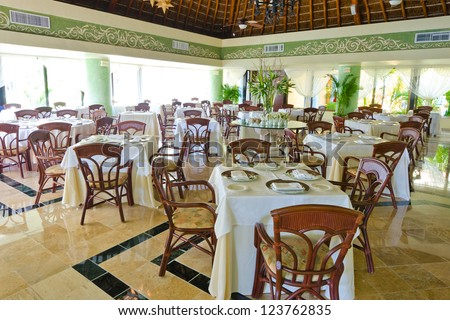 Interior of the restaurant of the luxury caribbean resort. - stock photo