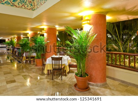 Interior of the restaurant of the luxury five stars caribbean resort.  Bahia Principe, Riviera Maya.