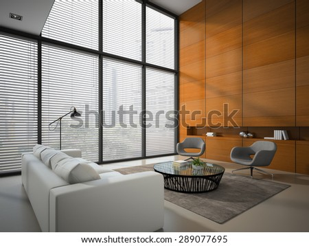 Interior of the room with wooden panel wall 3D rendering  - stock photo