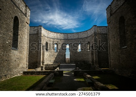 Interior of the ruins of St. Raphael's church. A national historic site in Glengarry, Ontario Canada.  - stock photo