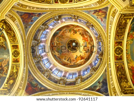 Interior of the Saint Isaac's Cathedral in St. Petersburg, Russia - stock photo
