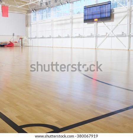 interior of the sports hall - stock photo