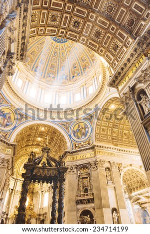 Interior of the St. Peter Basilica, Vatican - stock photo