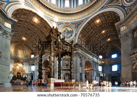interior of the St. Peter's Basilica in Rome, Italy - stock photo