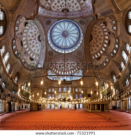 Interior of the Sultanahmet Mosque (Blue Mosque) in Istanbul, Turkey - stock photo