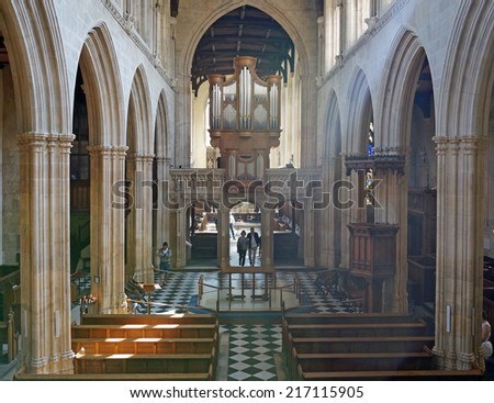Interior of The University Church of St Mary the Virgin, Oxford, England - stock photo