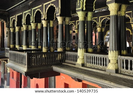 Interior of Tipu Sultan's Summer Palace in Bangalore, India. - stock photo