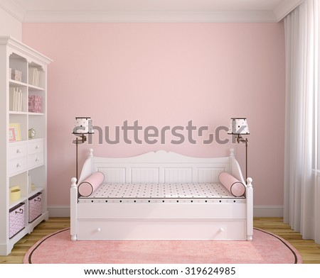 Interior of toddler room with white furniture and pink wall. Frontal view. 3d render. - stock photo