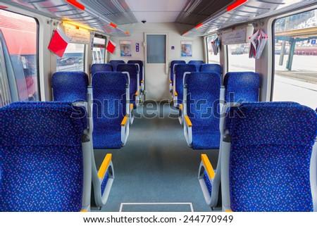 Interior of train - transportation travel background - stock photo