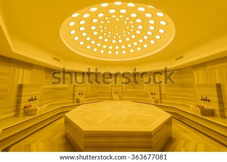 Interior of turkish bath hammam - stock photo